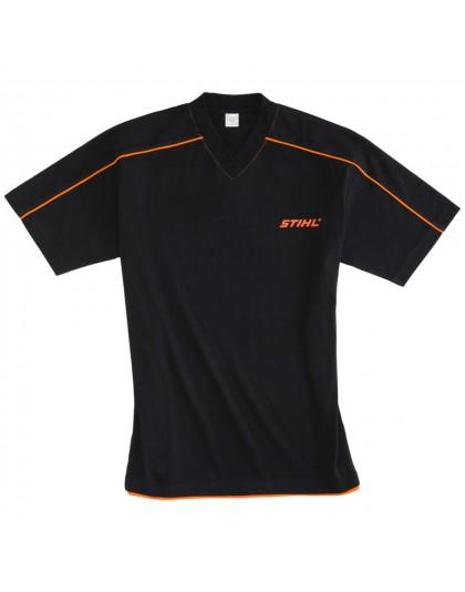 Черна тениска с остро деколте STIHL